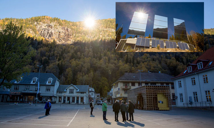 A Norwegian village with sunlight thanks to three huge mirrors