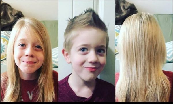 Hair donated by 8 year old boy to Help Children with Cancer